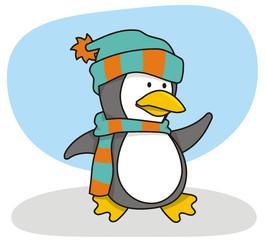 Vector cartoon of little penguin