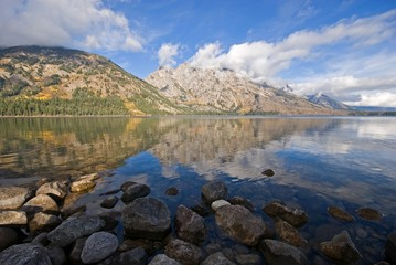 The Teton Mountains reflected in Jenny Lake, Wyoming.