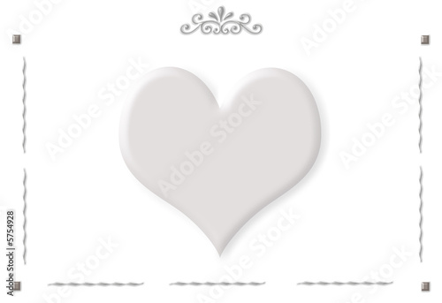 Frame with ornaments and one big heart isolated on white\