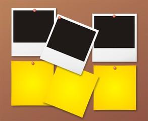 Blank polaroid photos with post-it notes