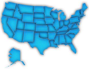 Carte Etats-Unis 3D Bleu