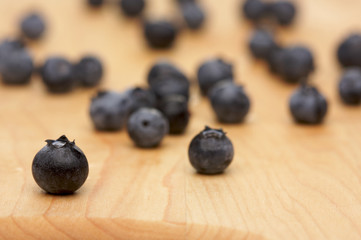Blueberries on a Cutting Board with Narrow Depth of Field