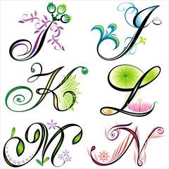 alphabets elements design -  series I to N