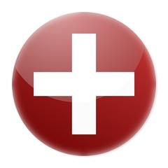 white cross on red aqua button