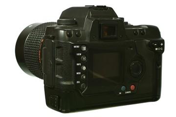 Digital  SLR camera with mirror lens.