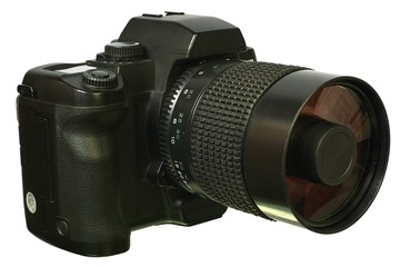 Digital  SLR camera with mirror lens.