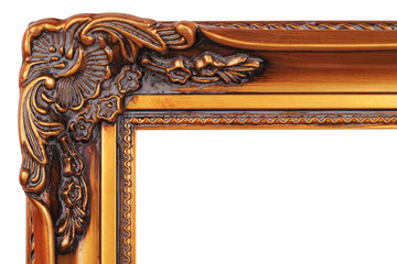 Gold plated wooden picture frame corner