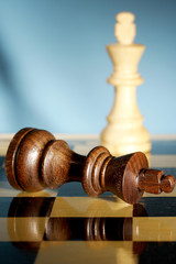 A game of chess comes to an end. The king is checkmated.