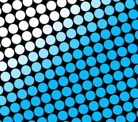 Abstract image of rows of blue and white spots on black