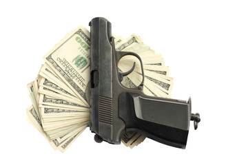 Gun and money isolated on white