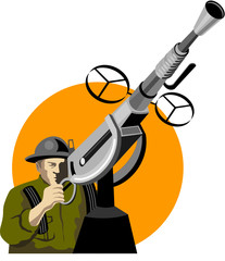 Keuken foto achterwand Militair Soldier manning an anti-aircraft gun