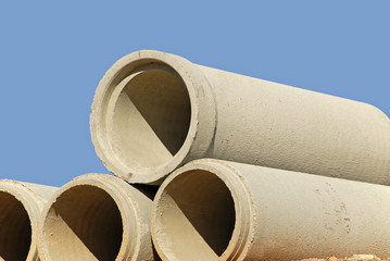 Stack of Concrete Drainage Pipe