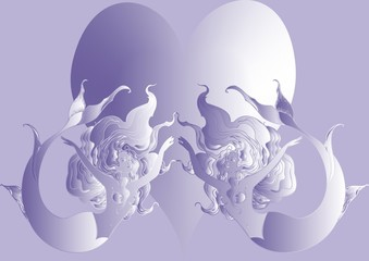 Naiad and big Heart on violet background