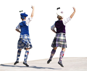 Highland Dancing Lassies Isolated with clipping path