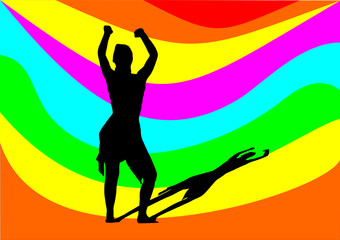 dancing girl with rainbow