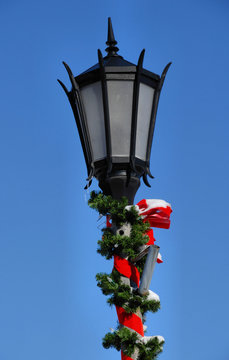 Street Light Decorated for Christmas