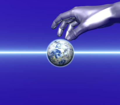 Silver hand and globe over sea - digital artwork.
