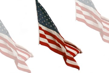 The American flag with faded images
