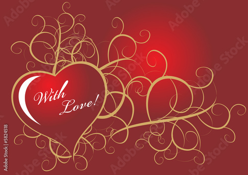 Vintage Valentine Design With Red Heart And Golden Border Stock