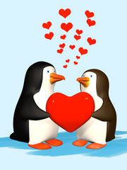Couple the smiling in love 3D penguins