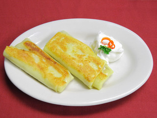 Two crepes with cream cheese