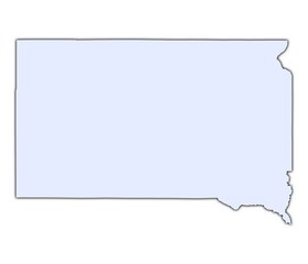 South Dakota (USA) light blue map with shadow