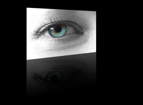 ladies eye shown on a digital flat screen