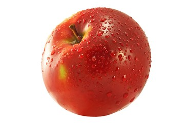 Wall Mural - Red apple with water drops. Over white background.