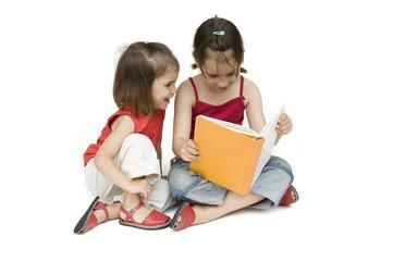 little girls reading a book