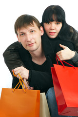 man and woman with purchases