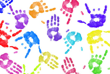 multi colored expressive hand print background on white