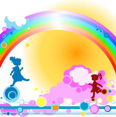 Poster Regenboog silhouettes of kids playing, abstract design