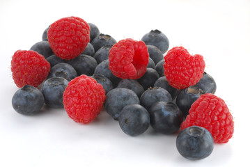 Close-up image of raspberry and blueberry