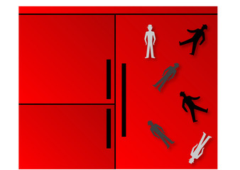 red fridge with pedestrian sign magnets