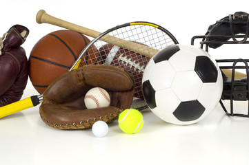 Variety of sports equipment on white background