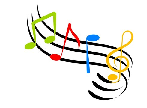 An illustration of colorful music notes made with line art