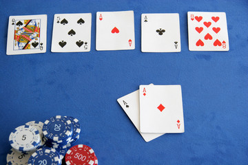 Two aces on the hand, two aces in the flop - perfect
