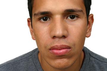 Young Hispanic Man Serious