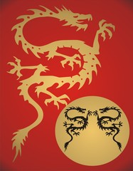 Fantasy dragon on red background
