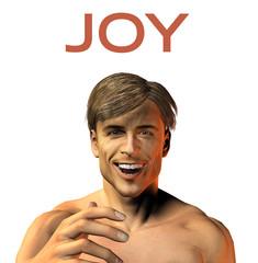 young man face expression - smile - joy - 3d render image