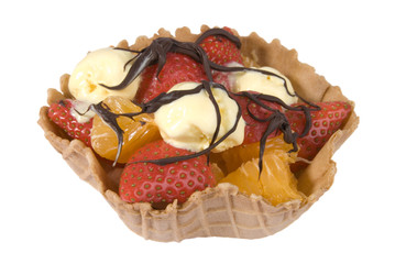 Fruit basket with strawberries, ice cream & choc sauce