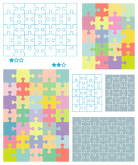 Jigsaw puzzle blank templates and pastel colors patterns