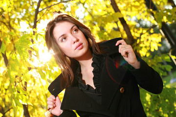 Wall Mural - Beautiful young woman posing in yellow autumn forest.
