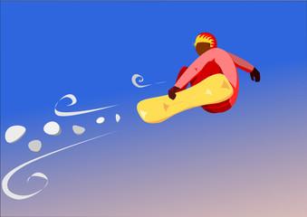Snowboarder en vol