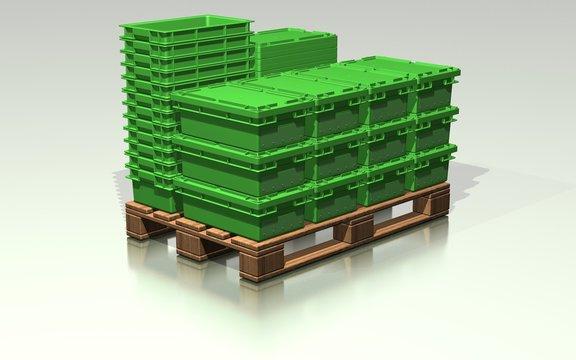 Transportbehälter auf Europalette