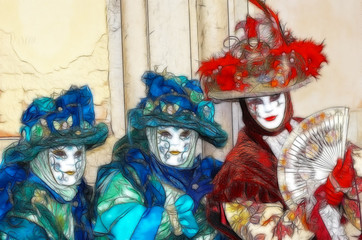 pencile draw venice carnival mystery