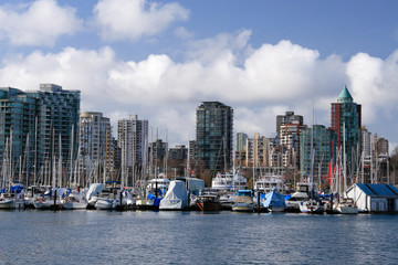 View on Downtown Vancouver and marina from Stanley Park.