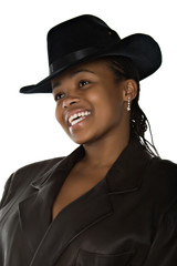 African woman  with cowboy hat and dreadlocks hairstyle