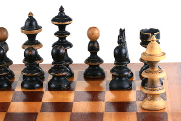 chess scene on white background symbol of confrontation
