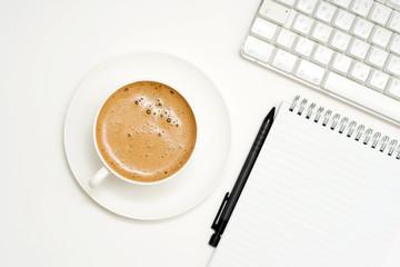 Coffee, keyboard, Pencil, Notepad.